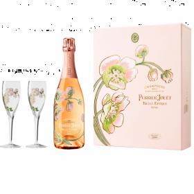 Coffret Perrier-Jouët Belle Epoque Rosé Millésimé 2004 avec 2 flûtes
